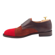Mens Red and Brown Buckle Shoes