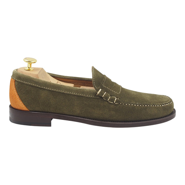 Mens Green Suede Loafers