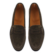 Mens Dark Green Suede Loafers