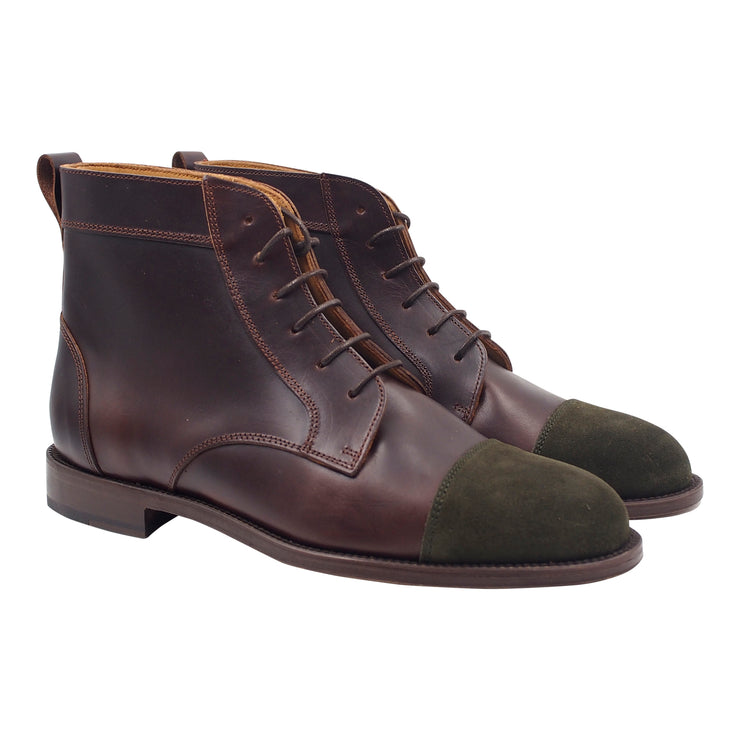 Brown and Green Leather and Suede Handcrafted Boots