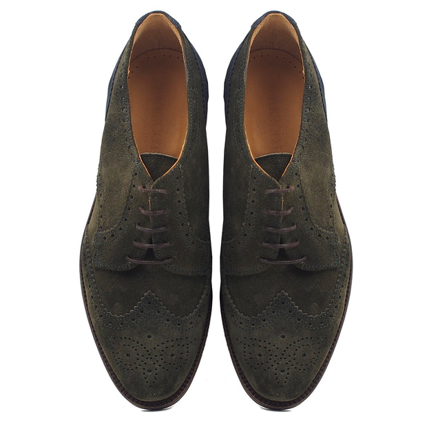 Men Green Suede Oxford Shoes