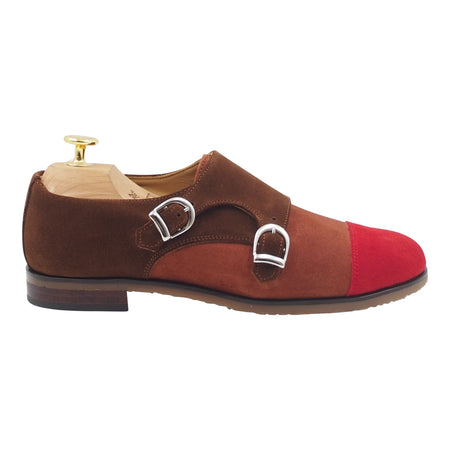 Womens Brown Suede Buckle Shoes