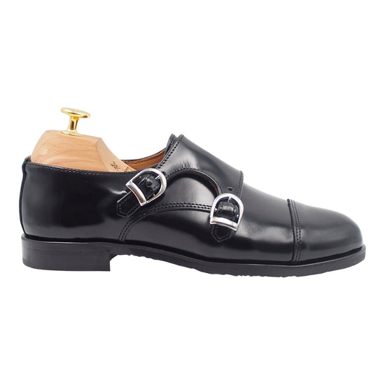 Women Black Leather Buckle Shoes