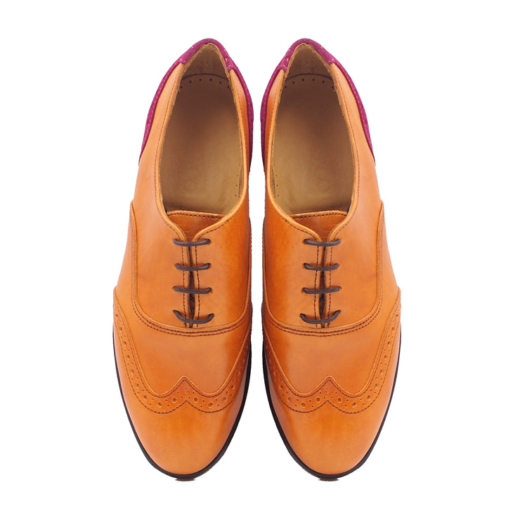 Women Tan Oxford Shoes