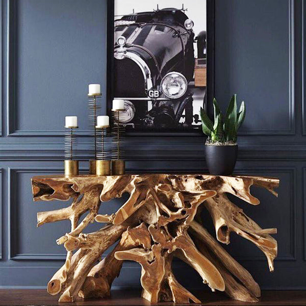 Teak Root Console Table   Without Glass