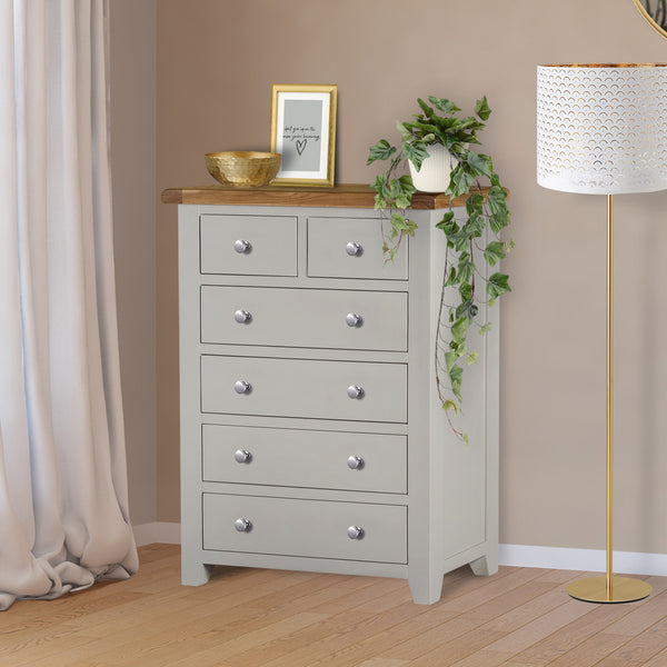 Cambridge Grey Painted Oak 2 Over 4 Chest Of Drawers