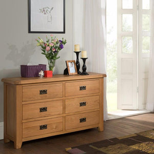 Cambridge Oak 6 Drawer Chest - Cambridge - HomePlus Furniture