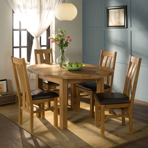 Cambridge Oak Round Extending Dining Table