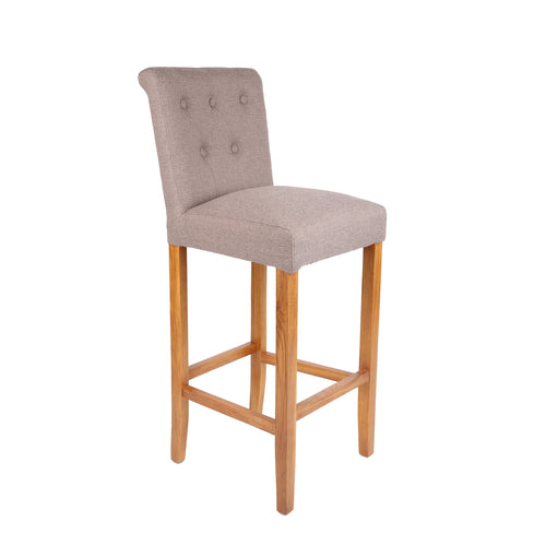 HomePlus Furniture Luxury Stone Brown Fabric Bar Stool