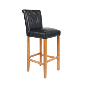 HomePlus Furniture Eden Black Leather Bar Stool
