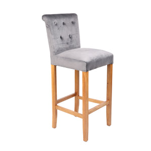 HomePlus Furniture Silver Velvet Bar Stool