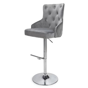 Fairmont Gas Lift Swivel Velvet Bar Stool | Silver - HomePlus Furniture