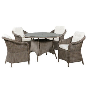 Winchester 4 Seat Round Dining Set with Rounded Chairs | New - HomePlus Furniture