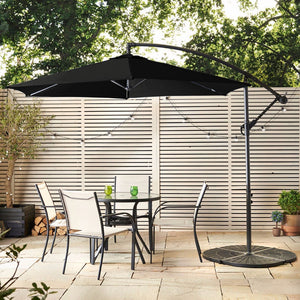 Barbados Banana Cantilever Parasol | Grey - HomePlus Furniture - HomePlus Furniture