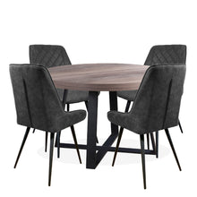 Boston Round Dining Table with 4 Diamond Dining Chairs | Grey