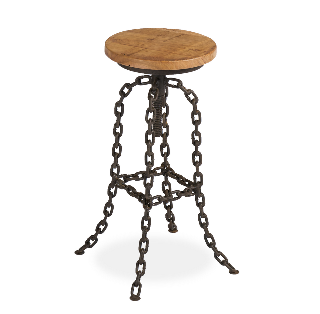 Reclaimed Elm Bar Stool With Chain Legs - HomePlus Furniture - HomePlus Furniture