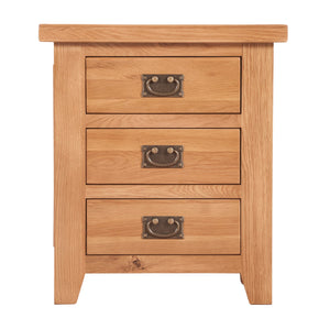 Canterbury Oak 3 Drawer Bedside Table