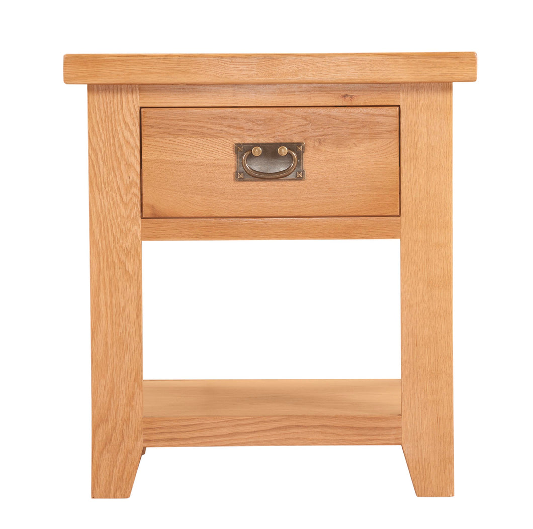 Canterbury Oak Lamp Table with Shelf