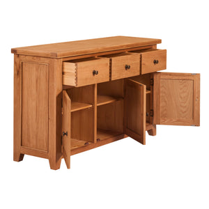 Waxed Canterbury Oak 3 Door 3 Drawer Sideboard