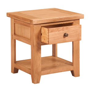 Waxed Canterbury Oak Lamp Table With Shelf - Waxed Canterbury - HomePlus Furniture