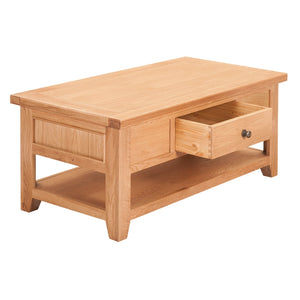 Waxed Canterbury Oak Coffee Table With Drawer - Waxed Canterbury - HomePlus Furniture