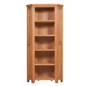 Waxed Canterbury Oak Corner Bookcase