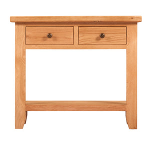 Waxed Canterbury Oak 2 Drawer Console Table