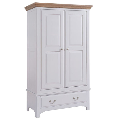 Georgia Grey Painted Oak 2 Door 1 Drawer Wardrobe