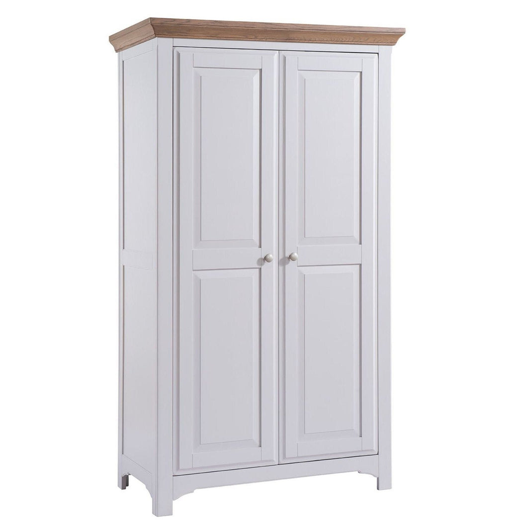 Georgia Grey Painted Oak 2 Door Full Hanging Wardrobe