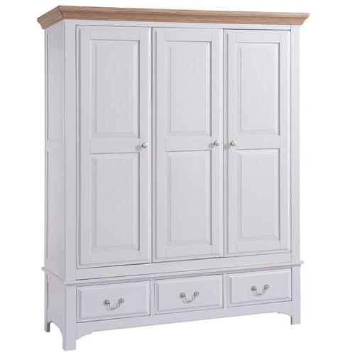 Georgia Grey Painted Oak 3 Door 3 Drawer Wardrobe