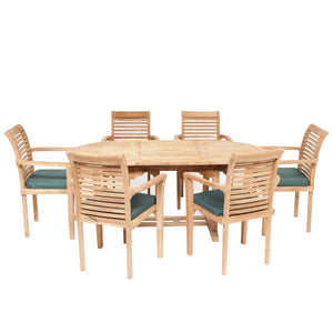 Teak Wooden Garden Oval Extending Dining Table & 6 Chairs Set - HomePlus Furniture