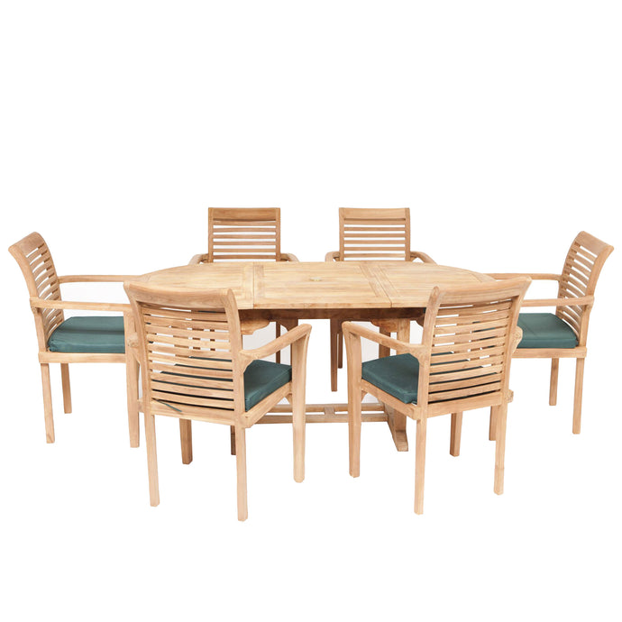 Teak Wooden Garden Oval Extending Dining Table & 6 Chairs Set - HomePlus Furniture - HomePlus Furniture