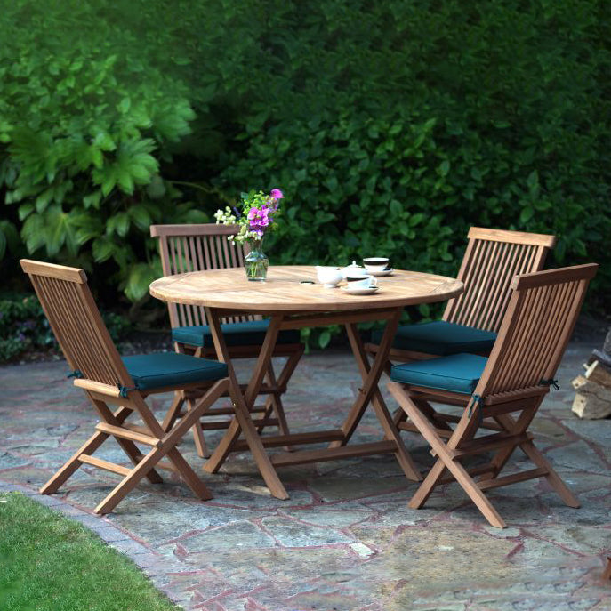 Teak Wooden Garden Round Dining Table & Chair Set - HomePlus Furniture - HomePlus Furniture