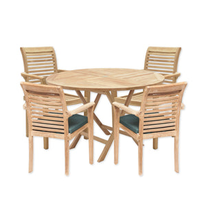 Teak Wooden Garden Round Dining Table & Stacking Chair Set - HomePlus Furniture