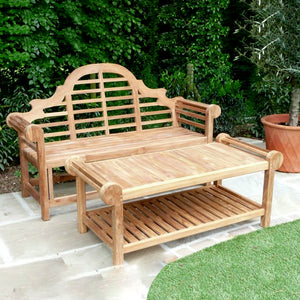 Marlborough Teak Wooden Garden Bench & Table Set - HomePlus Furniture