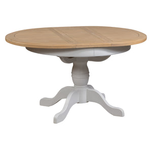 Georgia Grey Painted Oak Round Extending Dining Table (1.1 m-1.4 m)