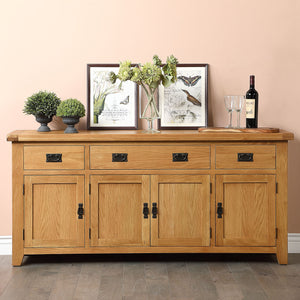 Cambridge Oak 4 Door 3 Drawer Sideboard - HomePlus Furniture