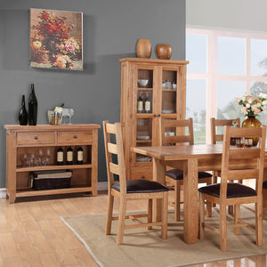Waxed Canterbury Oak Small Display Cabinet - Waxed Canterbury - HomePlus Furniture