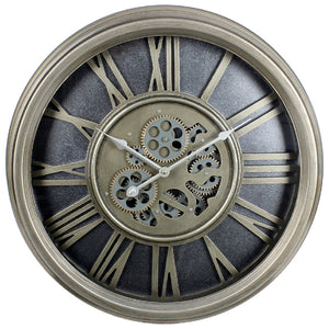 Lesser and Pavey | Silver Moving Cog Clock | Roman Numerals | 54 cm | LP45696
