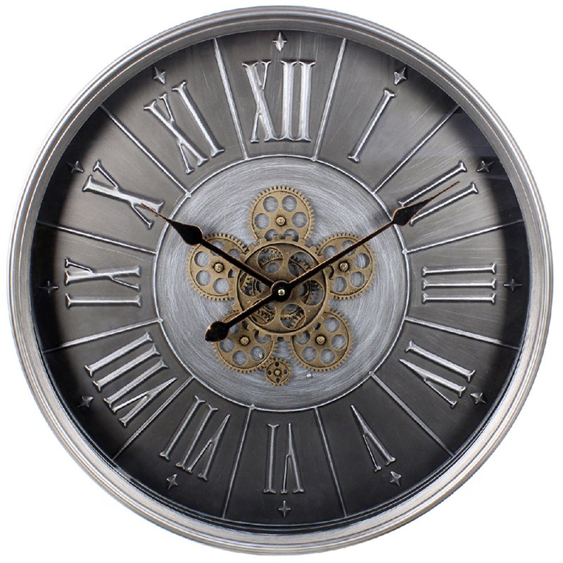 Lesser and Pavey | Silver Moving Cog Clock | Roman Numerals | 60 cm | LP45697