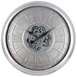 Lesser and Pavey | Silver Moving Cog Clock | Roman Numerals | 80 cm | LP45699