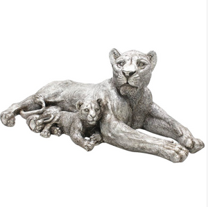 Deco Large Silver Lion & Cub