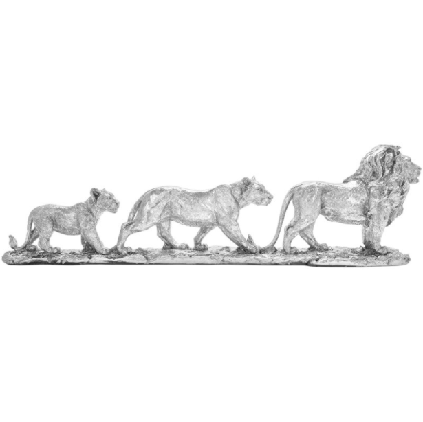 Deco Silver Lion Family