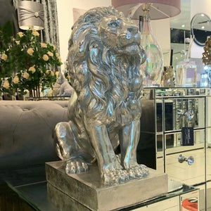 Deco Silver Seated Lion | Large
