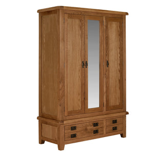 Cambridge Oak 3 Door 2 Drawer Wardrobe - Cambridge - HomePlus Furniture