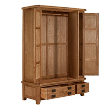Cambridge Oak Wardrobe 3 Doors 2 Drawer