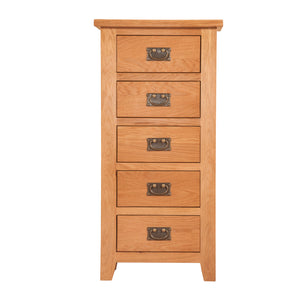 Mini Canterbury Oak 5 Drawer Tall Chest