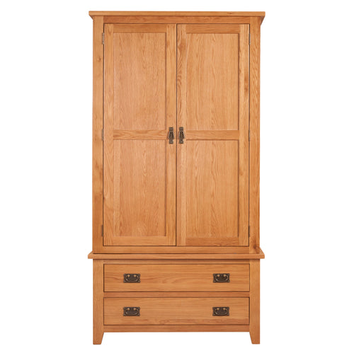 Mini Canterbury Oak 2 Drawer 2 Door Wardrobe