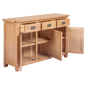 Mini Canterbury Oak 3 Drawer Door Sideboard