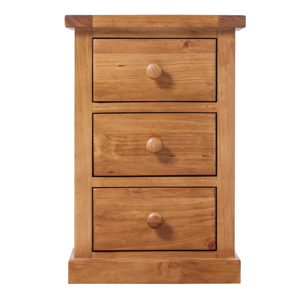 Wellington Pine 3 Drawer Bedside Table - Wellington Pine - HomePlus Furniture
